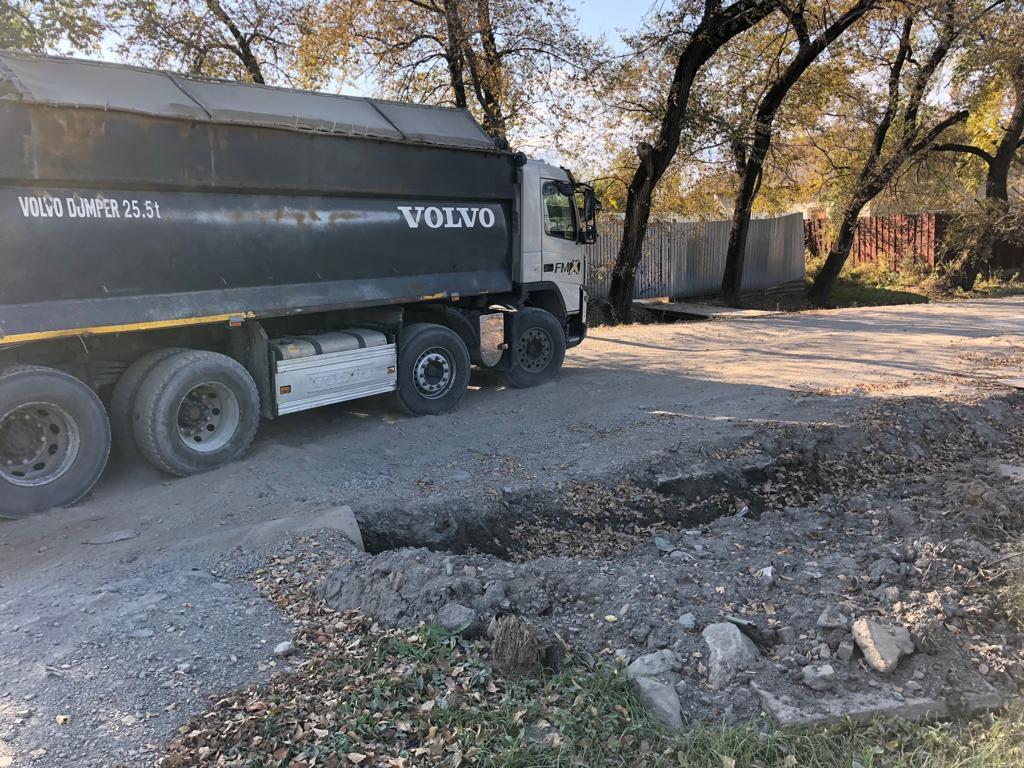 Осмотр участка дороги по  ул. Орловская и оперативный ремонт.